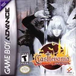 Castlevania: Aria of Sorrow (Konami), GBA; Third instalment of the series on GBA. Although Aria of Sorrow sold poorly in Japan, it was commercially successful in the U.S, with more than 158k units sold 3 months following its release. Plot follows journey of Soma Cruz: a teenager granted occult power & a potential vessel of Dracula's reincarnation as he battles dark figures who wish to inherit the undead lord's power. Famitsu gave it the highest score in Castlevania series history with 36/40.