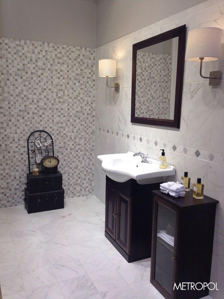 #Metropol trae la colección Venato expuesta desde #Coverings2015 en este #baño #vintage http://www.metropol-ceramica.com/productos/series/venato