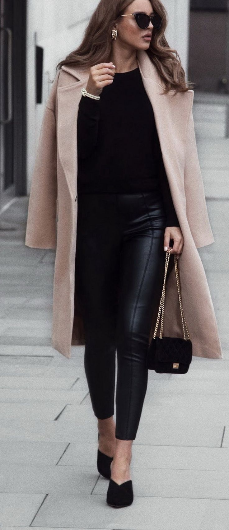 Coat (Here) Lather Pants (Here) Sunglasses (Here) Heels (Here)