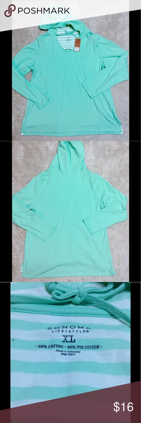 Mint green hooded shirt Sonoma NWT mint green hooded long sleeve shirt very pretty color and soft Sonoma Tops Sweatshirts & Hoodies