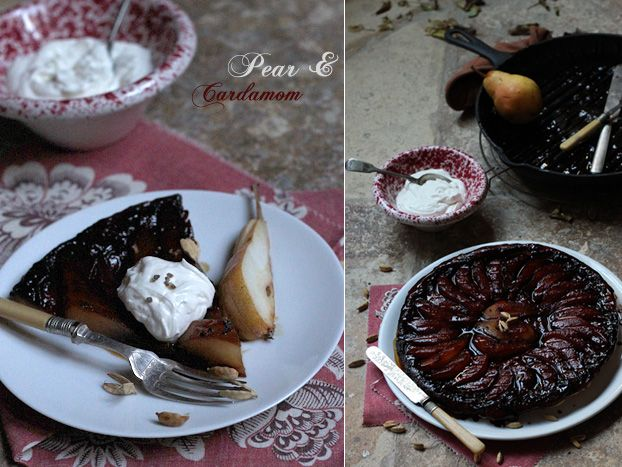 Tarte Tatin pear & cardamom. Swap the traditional apples and add a warming winter spice for a perfect l'hiver dinner party dessert (or Sunday lunch pud!).