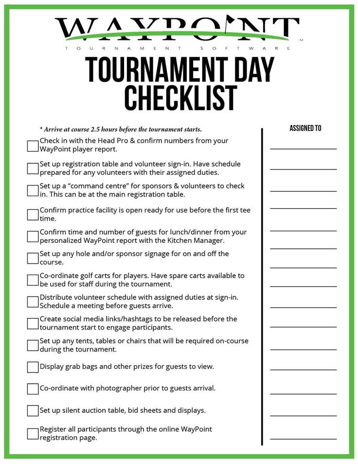 To print your personal checklist, click HERE in 2020
