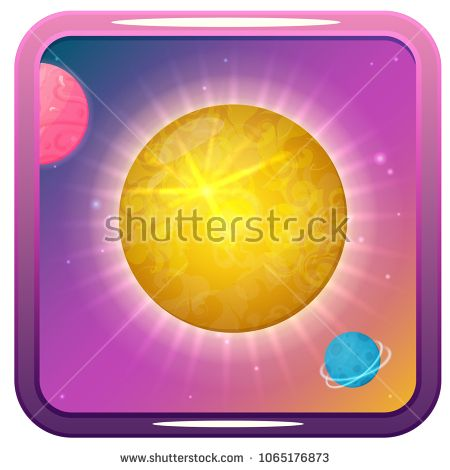 Vector icon with Sun, planets and stars. Perfect for games and apps devoted to science and universe.