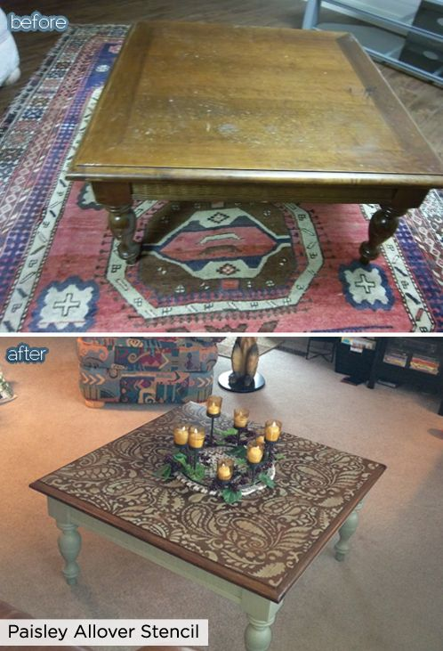 Turn a flea market find like this coffee table into a designer piece using the paisley allover stencil from Cutting Edge Stencils.