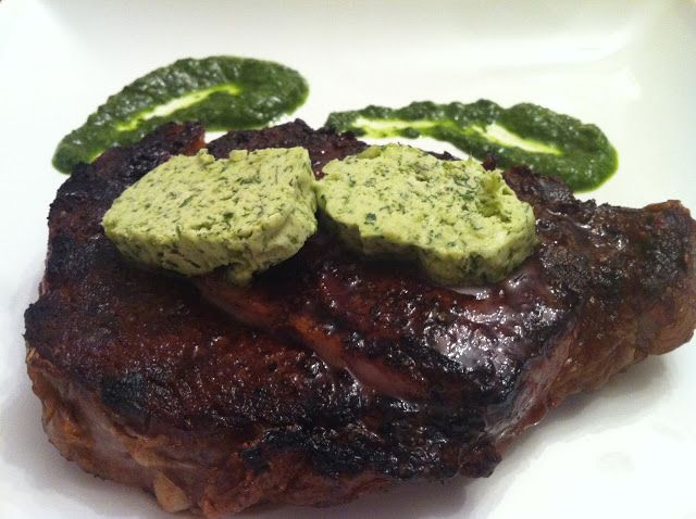 Chimichurri Compound Butter on a ribeye