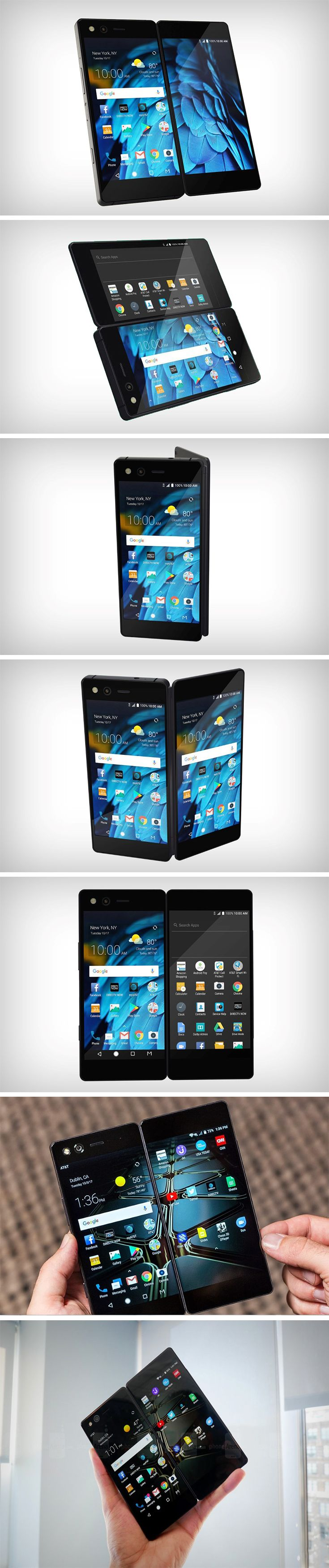 The ZTE Axon M dares to do something no phone company has dared to. A phone with dual touchscreen displays. The ZTE Axon M comes slightly thicker than your average phone, and you notice a hinge running down the right edge. That's because when you open the phone out, you get the added benefit of two touchscreen displays.