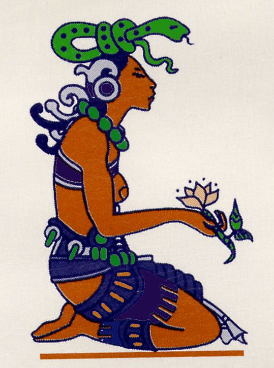 "Ixchel, Mayan goddess of the Moon, fertility, medicine, weaving, rainbows, songs and childbirth. Ixchel also watches over bodies of water, such as lakes, lagoons, natural wells (cenotes), underground rivers and the ocean, thus receiving such names as ""Lady of the Sea""."
