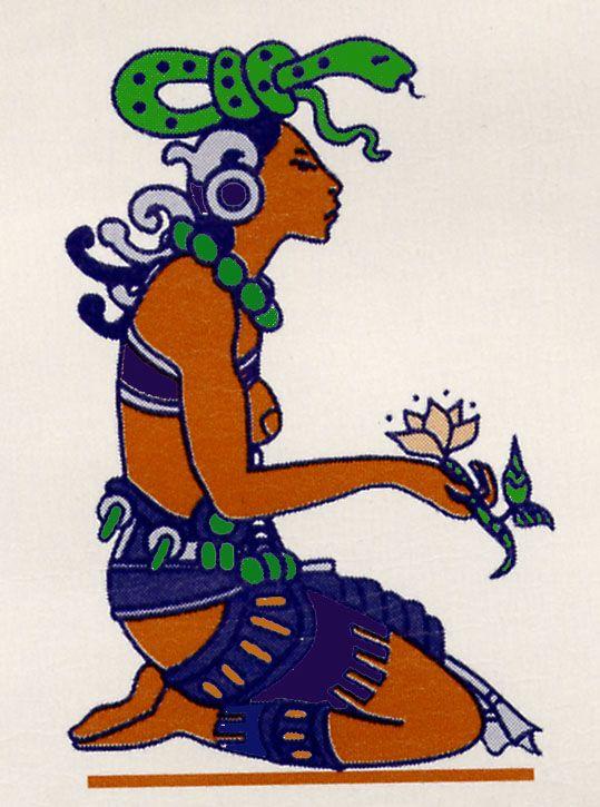 """Ixchel , deusa maia da lua, fertilidade , medicina, tecelagem , arco-íris , canções e parto. Ixchel também senhora das águas, tais como lagos , lagoas, poços naturais ( cenotes ), rios subterrâneos e o oceano, assim recebendo nomes como """" Senhora do Mar """" ."""