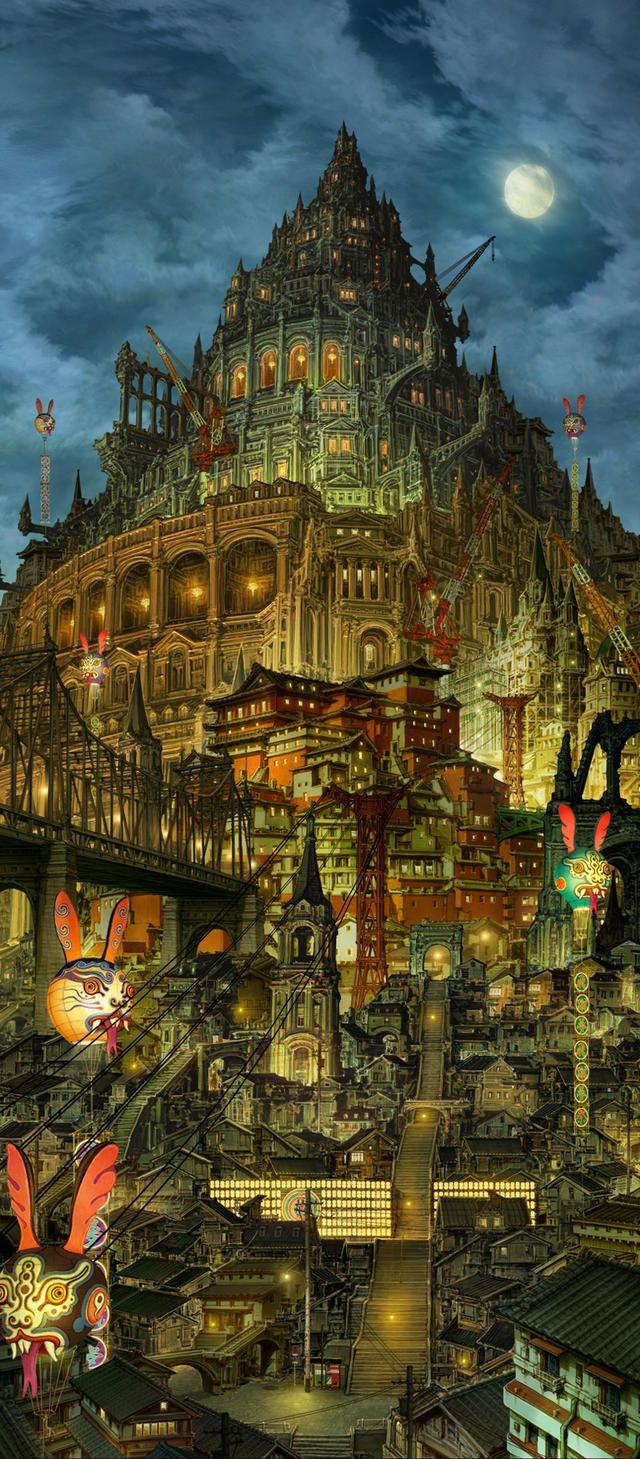"kimura Shinji's background drawing of animation movie ""Blue Exorcist""......美術監督・木村真二による「青の祓魔師」劇場版の美術ボード。"