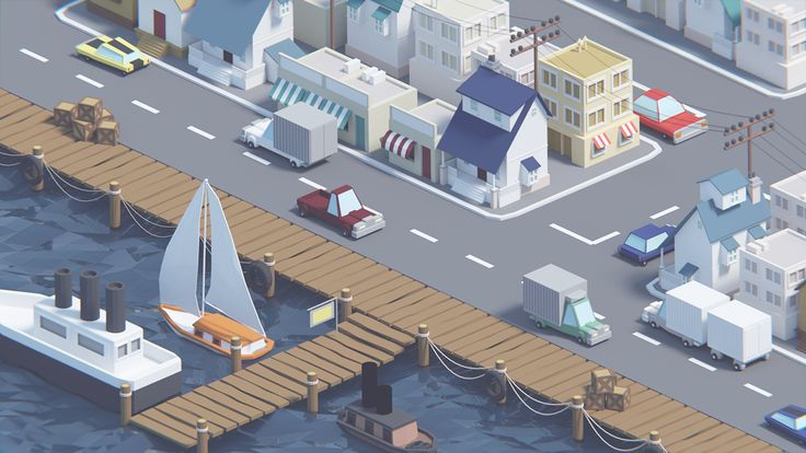 Low poly port on Behance