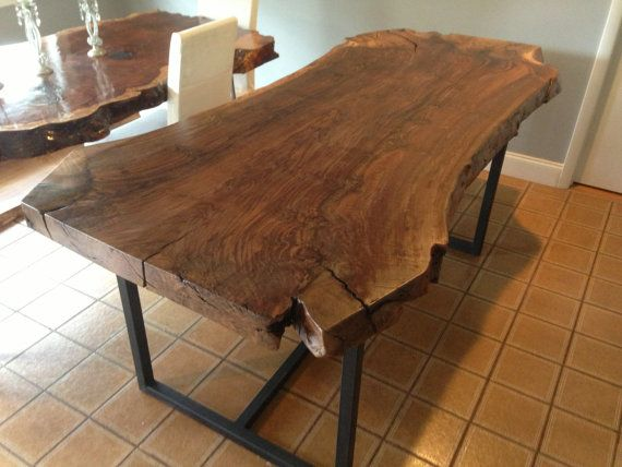 live edge claro walnut wood slab dining table for patio different legs though