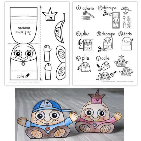 Fichier PDF téléchargeable En noir et blanc seulement 2 pages + 1 feuille avec des photos du résultat  Ce bricolage donne une petite fille ou un petit garçon en 3 dimensions (J'aime ma maman est inscrit sur la casquette et sur l'élastique de la petite fille). Vous pouvez même insérer un certificat ou toute autre feuille roulée à l'intérieur. Le fichier du bricolage contient une feuille d'instructions illustrées et une feuille des parties à découper. À noter: mes modèles sont faits en papier…