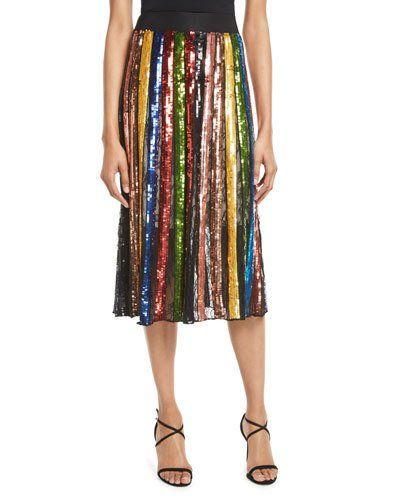 d255535dd4 Alice + Olivia Tianna High-Waist Stripe Midi Skirt | Products ...