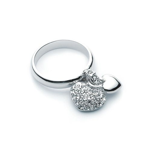 Dual hanging Pave heart Statement Ring