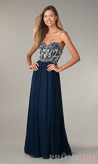 Dark blue gown with beaded top