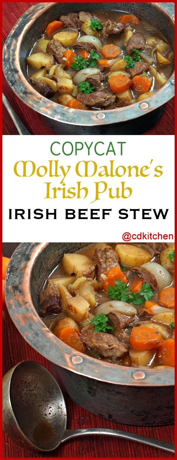 Copycat Molly Malone's Irish Pub Irish Beef Stew - Recipe is made with black pepper, salt, red potatoes, beef broth, olive oil, beef chuck, carrots, celery, onion, leek, garlic, tomato paste, flour, Guinness stout, red wine | CDKitchen.com