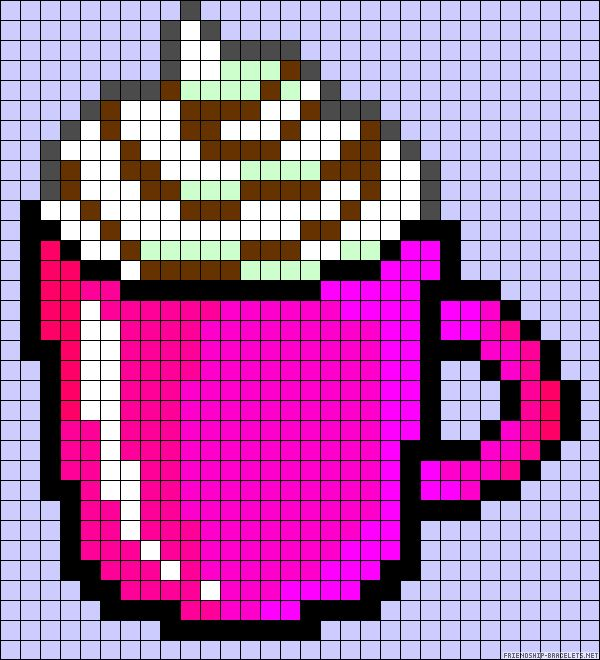 Mug chocolate drink perler bead pattern