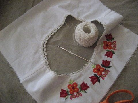 """""""...a Mexican peasant top .... some crochet around the neckline..."""""""