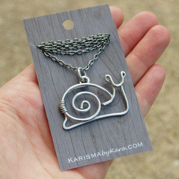 Snail Necklace. Snail. Aluminum. Wire by Karismabykarajewelry, $28.00