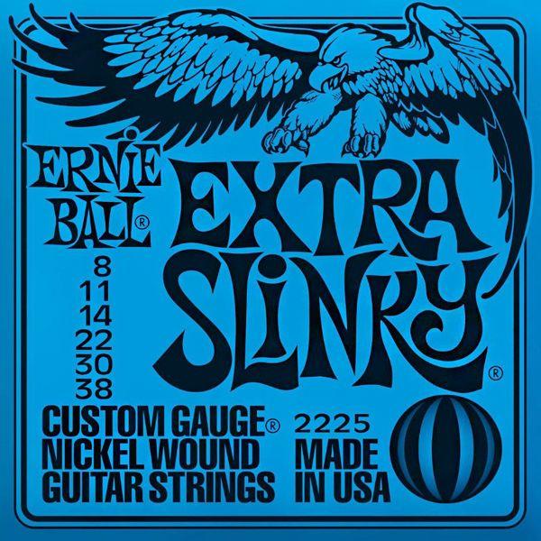 Ernie Ball 2225 Extra Slinky - Jeu de 6 cordes pour guitare électrique. Cordes très souples, adaptées pour un débutant. Tirants : 008 - 011 - 014 - 022 - 030 - 038