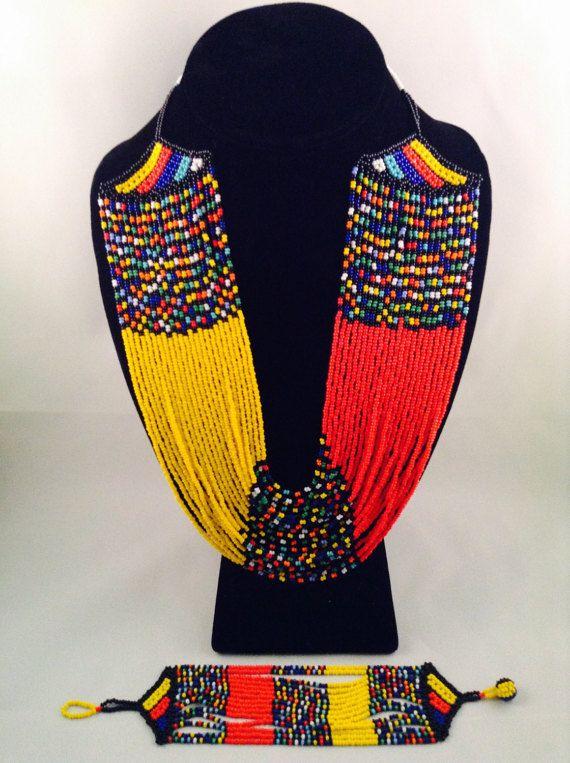 Zulu Multi-strand Beaded Necklace & Bracelet set