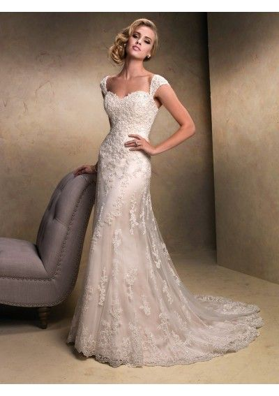 Lace Detachable Cap-sleeves Sweetheart Neckline Slim A-line Wedding Gown WS028