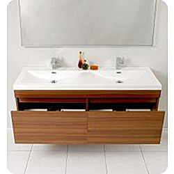 @Overstock - This Fresca Largo modern bathroom vanity features a teak finish and stainless steel hardware. The vanity includes a mirror which complements the lines of this bathroom set.http://www.overstock.com/Home-Garden/Fresca-Largo-Double-Bathroom-Vanity/5203106/product.html?CID=214117 $1,399.00