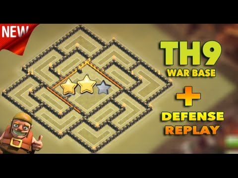 Clash Of Clans | New Town Hall 9/th9 War Base 2016 - Defense Replay.