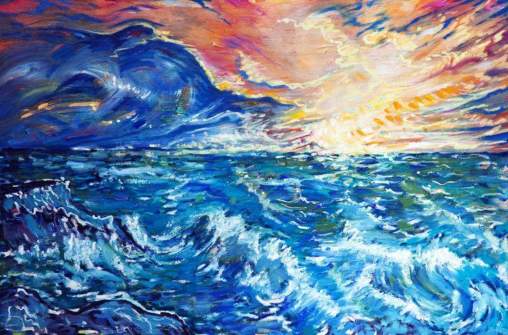 Rozbúrené more, olej na plátne 60 x 90 cm, Pavel Huszár, Banská Bystrica, Slovakia