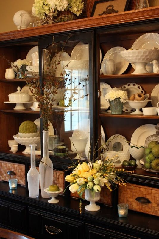 Top 12 ideas about decorating with milk glass on pinterest for Hutch decor