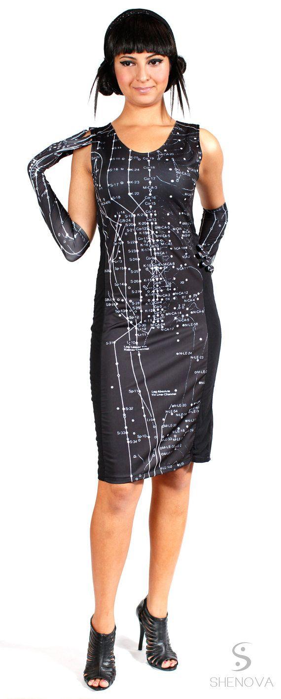 Acupuncture Anatomy Print Dress