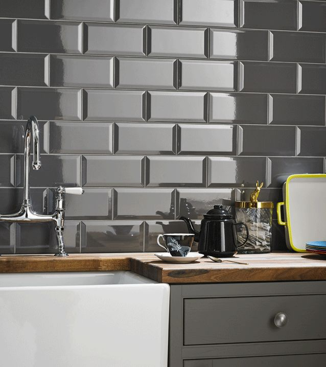 Grey Kitchen Wall Tile Beveled Metro Field 100mm X 200mm 50 Per Pack
