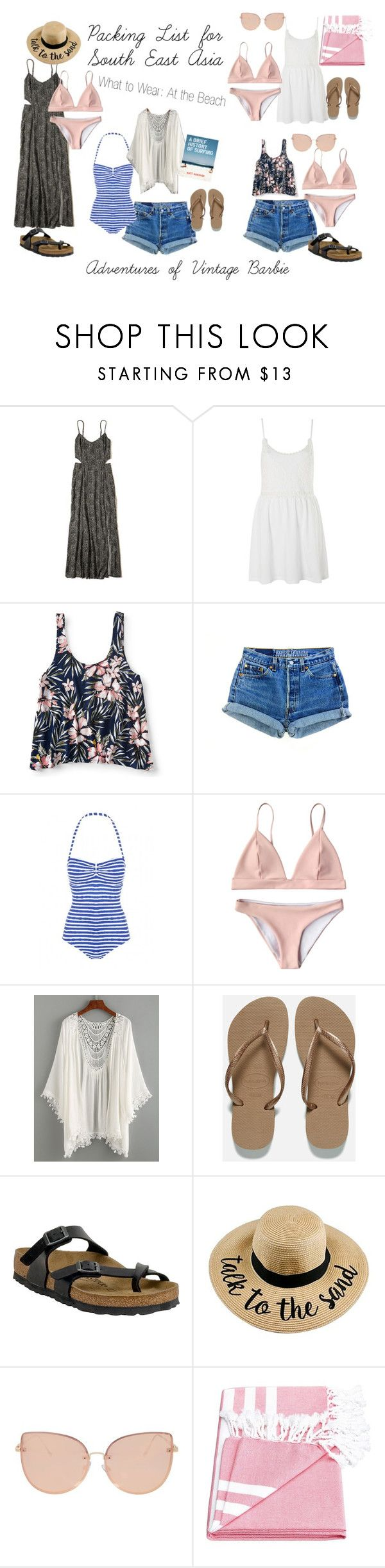 """""""South East Asia Packing List: what to wear at the beach"""" by vintagebarbie17 on Polyvore featuring Hollister Co., Topshop, Aéropostale, Havaianas, Birkenstock and Chronicle Books"""