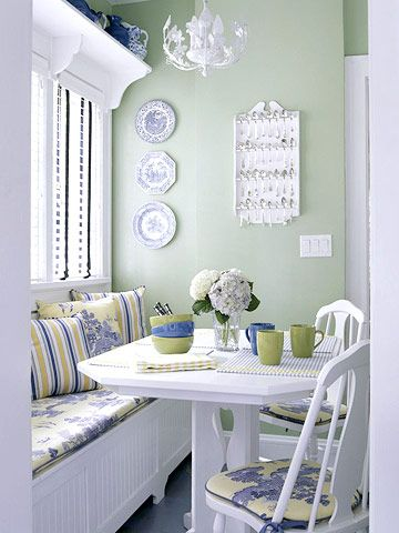 Eat-In Kitchens  Seating areas in or near kitchens are very popular. Family and friends can chat with the cook yet stay out of the way. They also make getting dinner on the table easy. Check out these stylish ideas for incorporating an eating area in your kitchen.