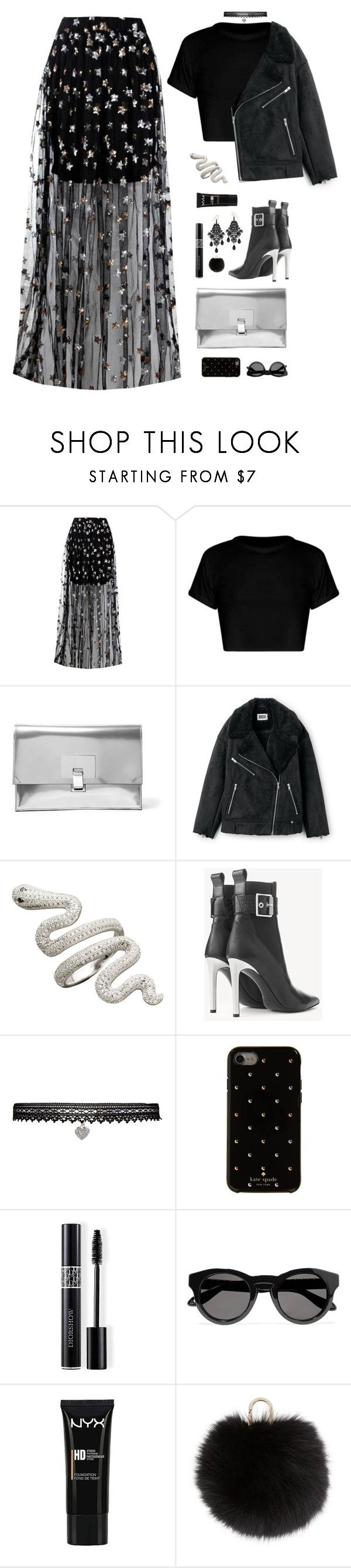 """""""crying in the club"""" by ishipbullshit ❤ liked on Polyvore featuring Boohoo, Proenza Schouler, rag & bone, Betsey Johnson, Kate Spade, Christian Dior, Givenchy, NYX, Yves Salomon and afterparty"""