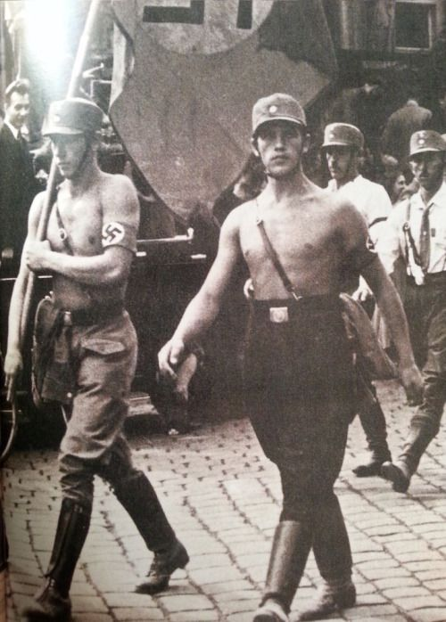 Hitlers shirtless SA members protest