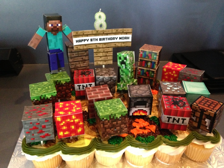 Folded paper Minecraft cupcake toppers   Birthday Party ...