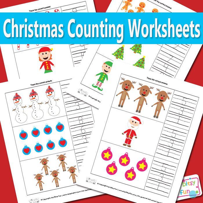 Christmas Counting Worksheets Preschool and Kindergarten