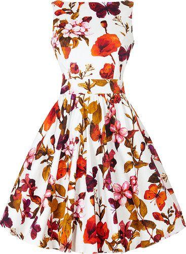 Bílé retro šaty s barevnými květy Lady V London Tea