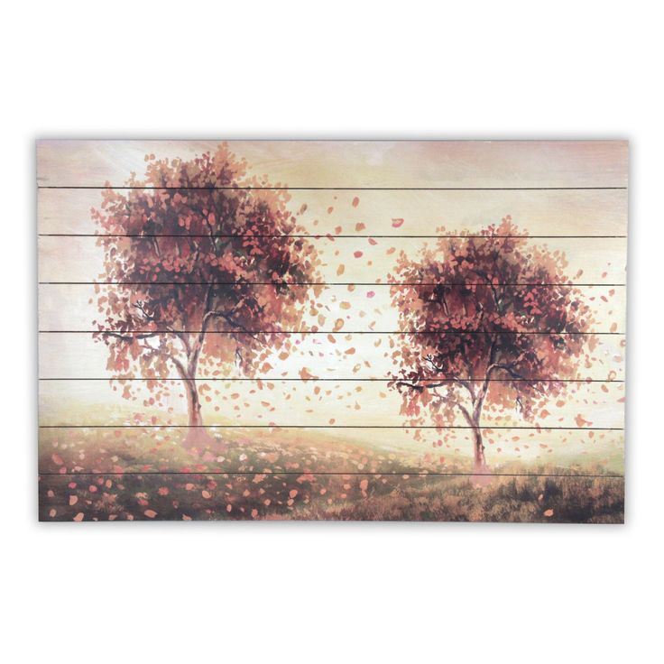 Gallery 57 Amber Trees Print on Planked Wood - S2890A1