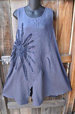 Art to Wear Lagenlook Starburst Flower Sun Dress in Gray by Peacock Ways LG | eBay