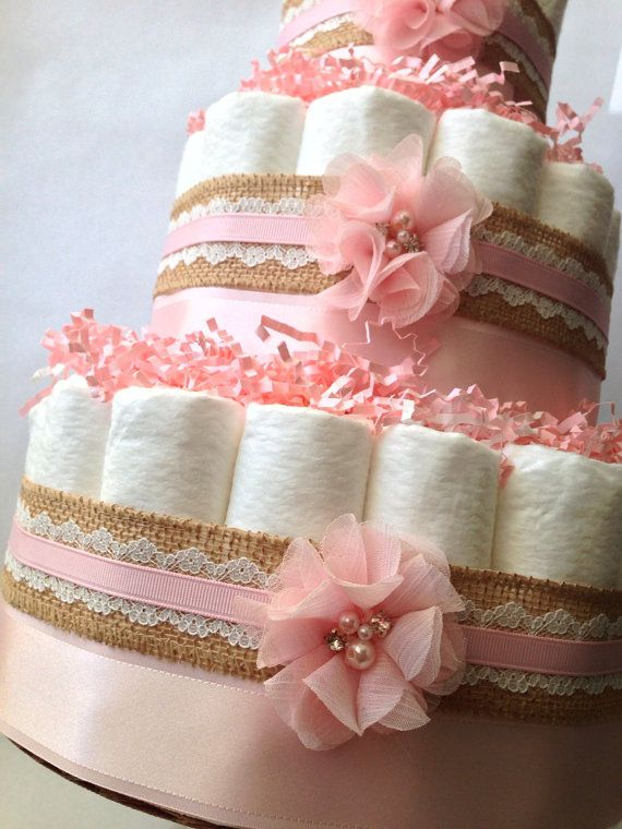 Burlap and Lace Pink Diaper Cake for Baby di MrsHeckelDiaperCakes
