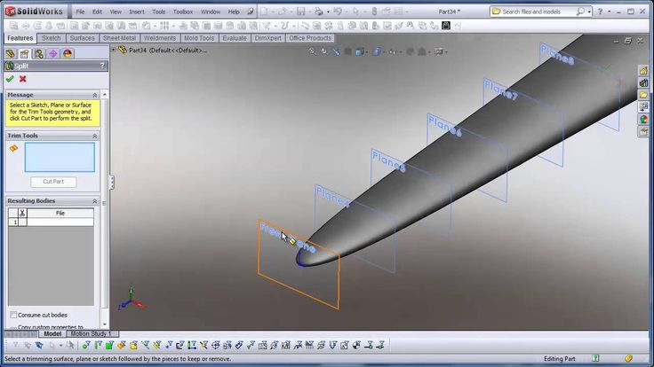 Using SolidWorks - Split bodies in a part to create assemblies
