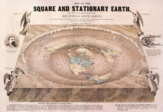 Map of the square and stationary earth, 1893: Squares, 1893, Stationary Earth, Maps, Flats, Orlando Ferguson