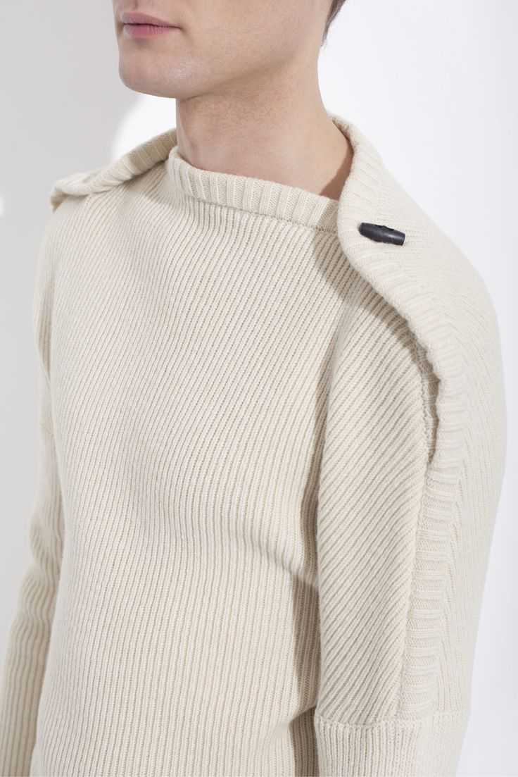 Off-white recycled wool knit sweater - honesty Bruno Pieters