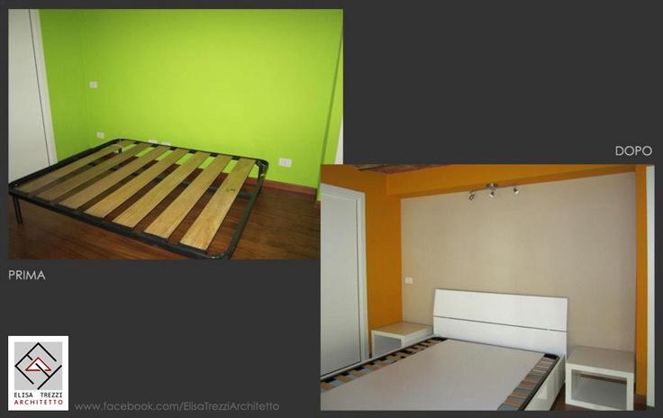 """Dettaglio della zona notte prima e dopo l'intervento. Sono state riviste le cromie della parete per conferire un aspetto più caldo e accogliente e allo stesso tempo creare un effetto """"cornice"""" attorno al letto. La rete del materasso è stata sostituita con un letto contenitore a cui sono stati affiancati due comodini."""