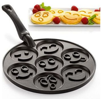 Smiley face pancake pan!! Best mom ever award for being able to really make faces in your pancakes lol
