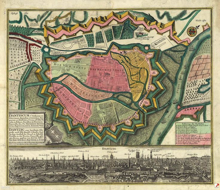 Mapy i plany, Gdańsk - 1740 rok, stare zdjęcia