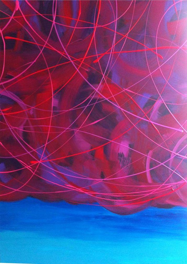 Toile Abstraite. Acrylique sur toile de coton. 48'' x 30'' Passion Orageuse. Karolanne Leduc. Suivez-moi sur Facebook Karolanne Leduc Artiste
