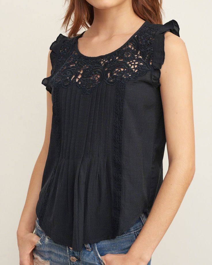 Womens Embroidered Lace Cami   Womens Tops   Abercrombie.com